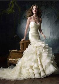 Свадебное платье Русалка с рюшами
